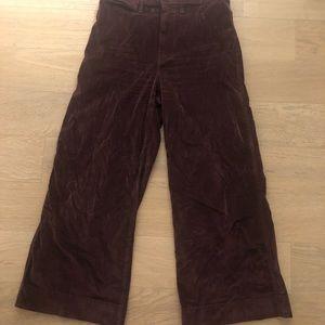 Madewell Velvet Burgundy Wide-Leg Crop Pants.